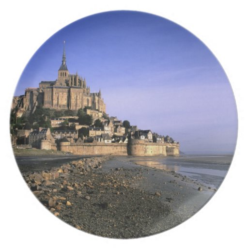 Famous Le Mont St. Michel Island Fortress in Party Plates