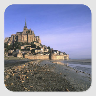 Famous Le Mont St. Michel Island Fortress in Square Sticker