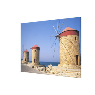 Famous old windmills of Rhodes Greece Canvas Print