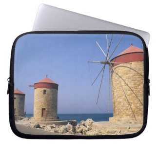 Famous old windmills of Rhodes Greece Laptop Sleeve