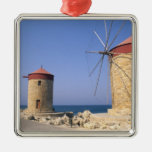 Famous old windmills of Rhodes Greece Christmas Ornaments