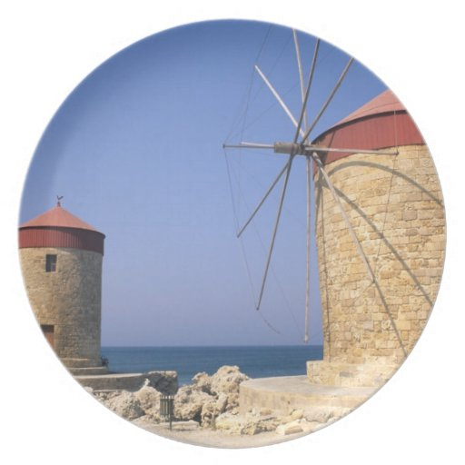 Famous old windmills of Rhodes Greece Plate