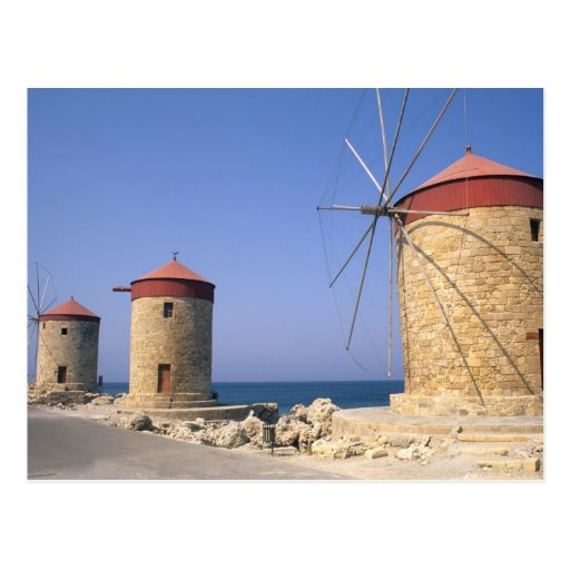 Famous old windmills of Rhodes Greece Post Card