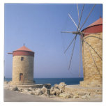 Famous old windmills of Rhodes Greece Tile