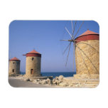 Famous old windmills of Rhodes Greece Vinyl Magnet