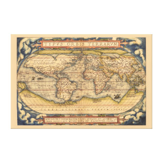 Famous Ortelius Antique Map of the World Gallery Wrap Canvas