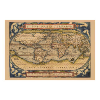 Famous Ortelius Antique Map of the World Poster