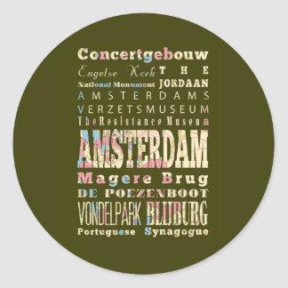 Famous Places of Amsterdam, Netherlands. Sticker