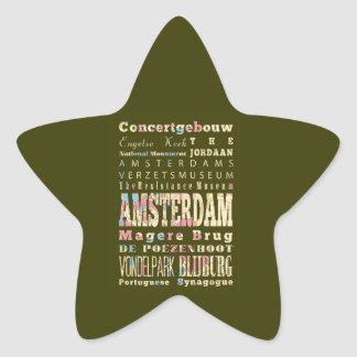 Famous Places of Amsterdam, Netherlands. Star Sticker