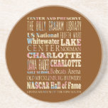 Famous Places of Charlotte, North Carolina. Drink Coaster