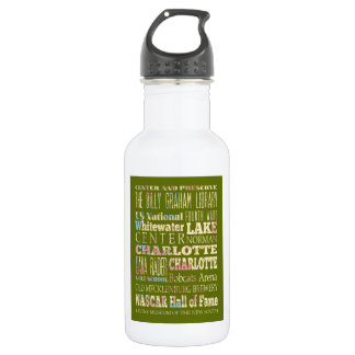 Famous Places of Charlotte, North Carolina. 18oz Water Bottle