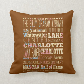 Famous Places of Charlotte, North Carolina. Throw Pillow