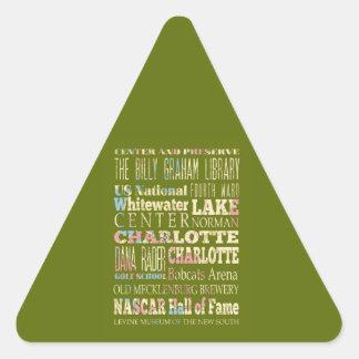 Famous Places of Charlotte, North Carolina. Triangle Sticker