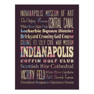 Famous Places of Indianapolis, Indiana. Poster