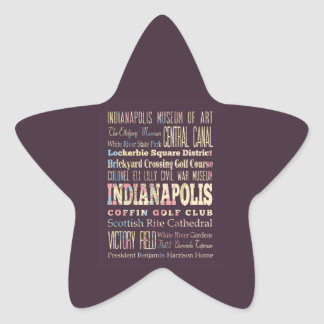 Famous Places of Indianapolis, Indiana. Star Sticker