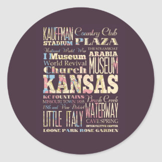 Famous Places of Kansas, United States. Stickers