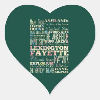 Famous Places of Lexington Fayette, Kentucky. Heart Sticker