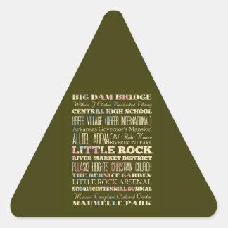 Famous Places of Little Rock, Arkansas. Triangle Sticker