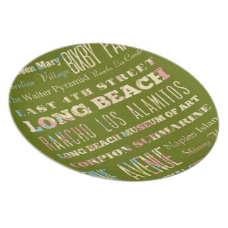 Famous Places of Long Beach, California. Melamine Plate