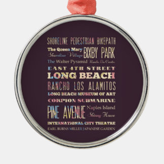 Famous Places of Long Beach, California. Ornament