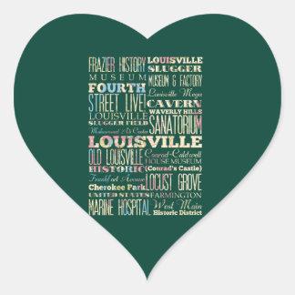Famous Places of Louisville, Kentucky. Heart Sticker