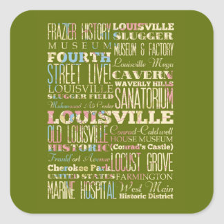 Famous Places of Louisville, Kentucky. Square Sticker