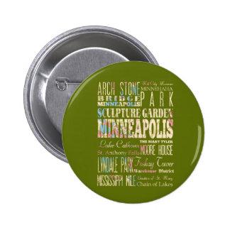 Famous Places of Minneapolis, Minnesota. Pinback Button