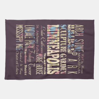 Famous Places of Minneapolis, Minnesota. Hand Towel