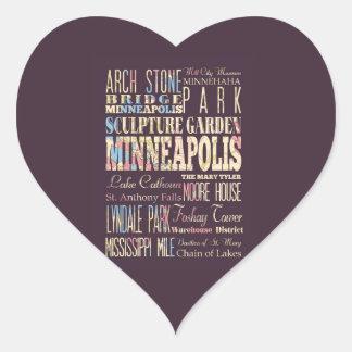 Famous Places of Minneapolis, Minnesota. Heart Sticker