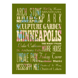 Famous Places of Minneapolis, Minnesota. Postcard