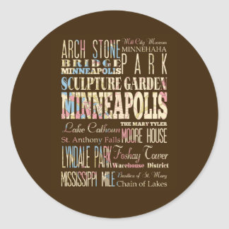 Famous Places of Minneapolis, Minnesota. Round Sticker
