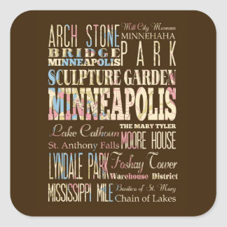 Famous Places of Minneapolis, Minnesota. Square Sticker