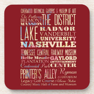 Famous Places of Nashville, Tennessee. Beverage Coaster