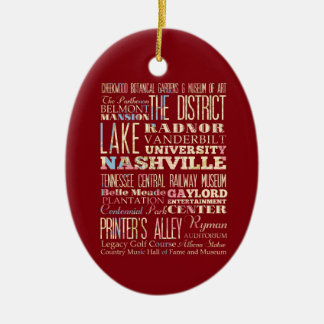 Famous Places of Nashville, Tennessee. Ceramic Ornament