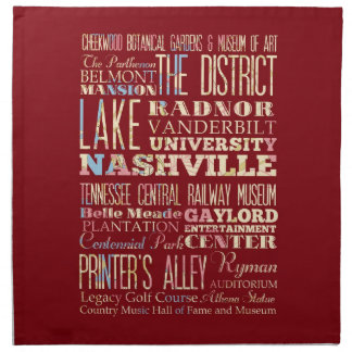 Famous Places of Nashville, Tennessee. Cloth Napkin