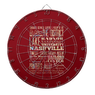 Famous Places of Nashville, Tennessee. Dartboard With Darts