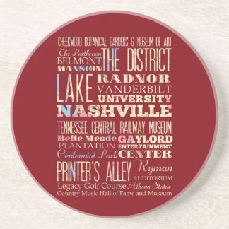 Famous Places of Nashville, Tennessee. Drink Coaster