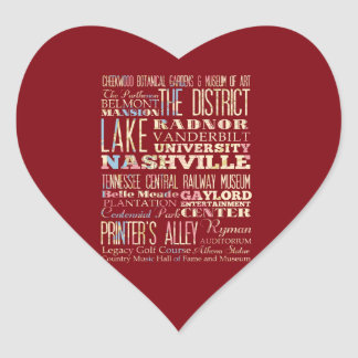 Famous Places of Nashville, Tennessee. Heart Sticker