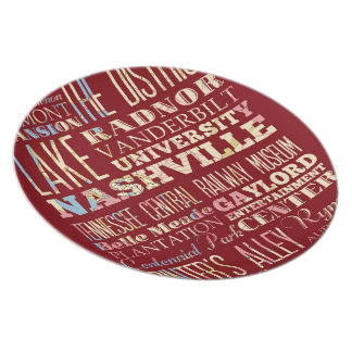 Famous Places of Nashville, Tennessee. Melamine Plate