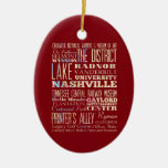 Famous Places of Nashville, Tennessee. Double-Sided Oval Ceramic Christmas Ornament