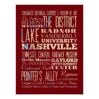 Famous Places of Nashville, Tennessee. Print