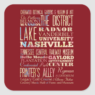 Famous Places of Nashville, Tennessee. Square Sticker
