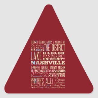Famous Places of Nashville, Tennessee. Triangle Sticker
