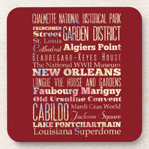 Famous Places of New Orleans, Louisiana. Beverage Coaster