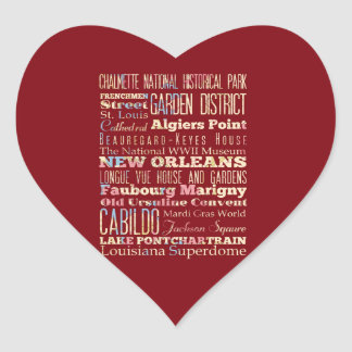 Famous Places of New Orleans, Louisiana. Heart Sticker
