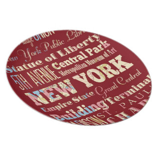 Famous Places of New York, United States. Melamine Plate