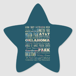 Famous Places of Oklahoma, United States. Star Sticker