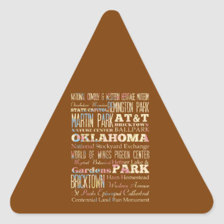 Famous Places of Oklahoma, United States. Triangle Sticker