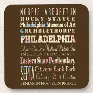 Famous Places of Philadelphia, Pennsylvania. Coasters
