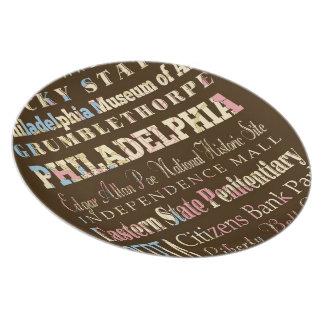 Famous Places of Philadelphia, Pennsylvania. Dinner Plate